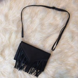 Handbags - Faux leather black fringe envelope purse